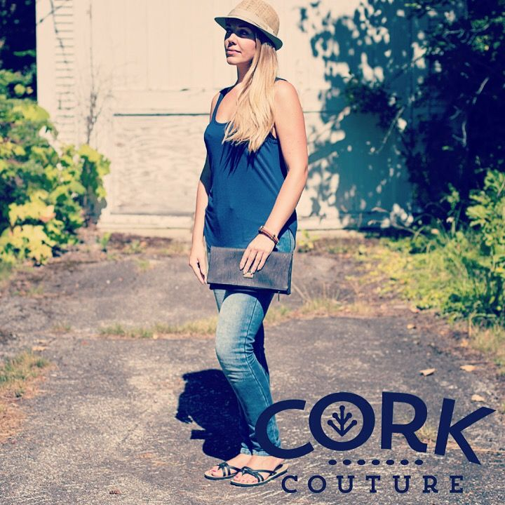 Black cork clutch. Cork fabric is sustainable, zero waste industry, low factory emissions, easy on the planet.  Corkcouture.ca