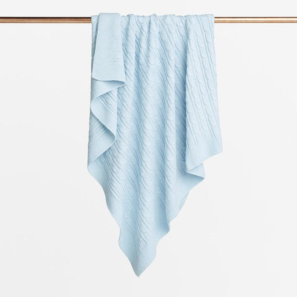 Ice blue cable knitted blanket