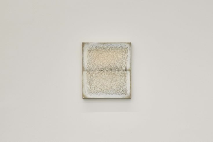 Richard Höglund, Sea Picture LXIII, 2016, silver, tin, lead and oil on linen prepared with bone pulver and marble dust, 30 x 26 cm. Ronchini Gallery, London.