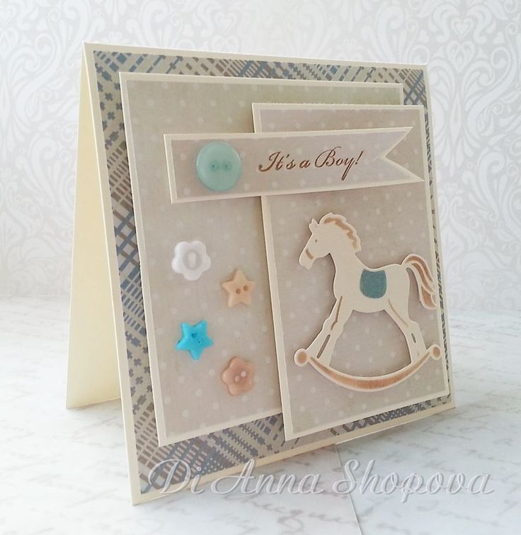 Handmade Baby Boy Card, Baby Shower, Birth, New Baby, Congratulations, Marianne Design