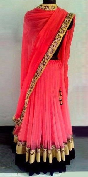 Giltzy Pink And Black Georgette Designer Lehenga Choli With Dupatta.