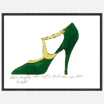 Andy Warhol honed his talent as a fashion illustrator while working with clients like Vogue and I. Miller shoes in the 1950s. It was also during this time that the prize-winning commercial artist devised a blotted line technique that allowed him to quickly recreate a variety of illustrations along a similar theme. Shoe Bright is from a whimsical book of blotted-line shoe illustrations that Warhol produced in 1955. The image was hand-colored by a team of Warhol's friends and the inscription…