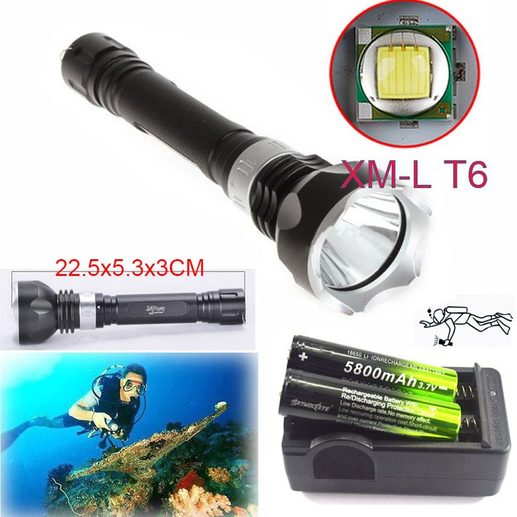 Underwater 100m 2300LM  CREE XM-L T6 LED Scuba Diving Flashlight Lamp Torch 18650 5 Mode +2x18650 battery + Smart Charger #Affiliate