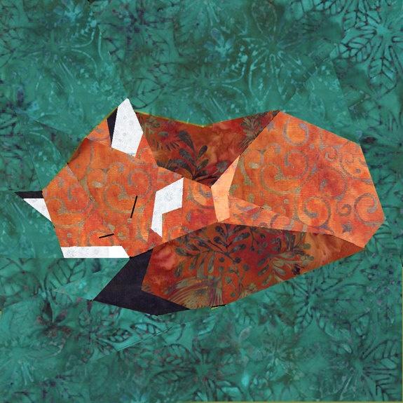 Fox paper pieced quilt block pattern PDF.