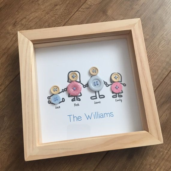 Button Family Handmade Personalised Picture frame