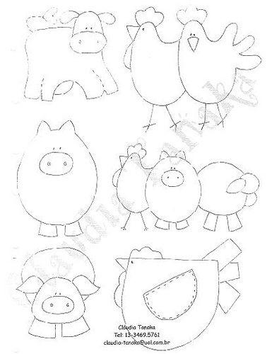 Tiere - Kuh-Schwein-Hühner-Malvorlag-Schnittmuster - - - - - templates