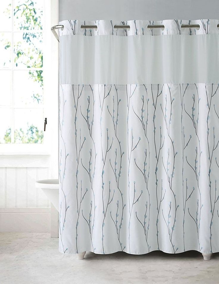 Hookless Shower Curtain Waterproof PEVA Liner White Blue Cherry Bloom Polyester Embroidery Floral Spa Style. The Hookless shower curtain. Patented flex-on rings for easy on and off. Mystery curtain with watching sheer window. | eBay!