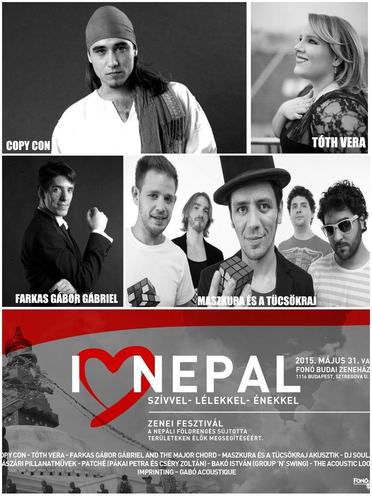 I <3 Nepal - Szívvel lélekkel énekkel - Zenei fesztivál a nepáli földrengés károsultjainak megsegítésére 2015. 05. 31 vasárnap 15 órától a Fonó Budai Zeneházban