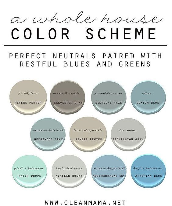Easy Ideas to Choose Paint Colors for the Whole House. How to Choose a Color Scheme for Your Home. Neutral Paint Colors Paired with Restful Blues and Greens. First Floor: Benjamin Moore Revere Pewter. Accent Color Benjamin Moore Galveston Gray. Powder Room: Benjamin Moore Kentucky Haze. Office: Benjamin Moore Buxton Blue. Master Bathroom: Benjamin Moore Wedgwood Gray. Laundry Room and Hall: Benjamin Moore Revere Pewter. TV Room: Benjamin Moore Stonington Gray. Girl's Bedroom: Benjamin Moore…
