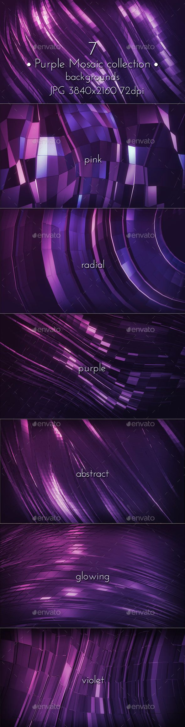 Abstract Dark Pink Purple Mosaic Glowing Surface 4K backgrounds. 7 hi-res images. Jpeg 3840×2160 (16:9 format) 72 dpi