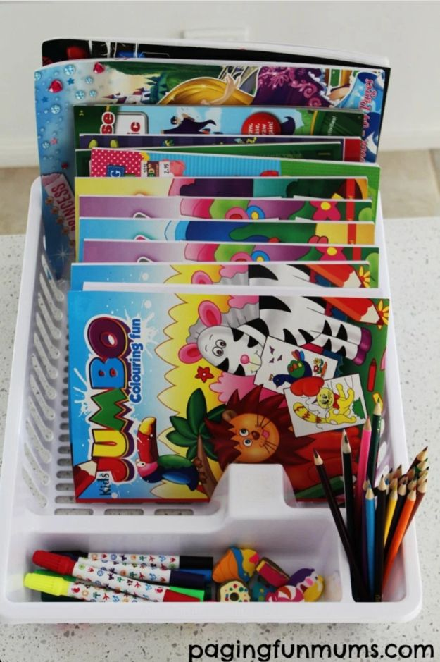 Stack all of your child's (or your own!) coloring books into a dish rack, so they're all easy to see and sort through.   42 Dollar Store Tricks Every Broke Person Should Know