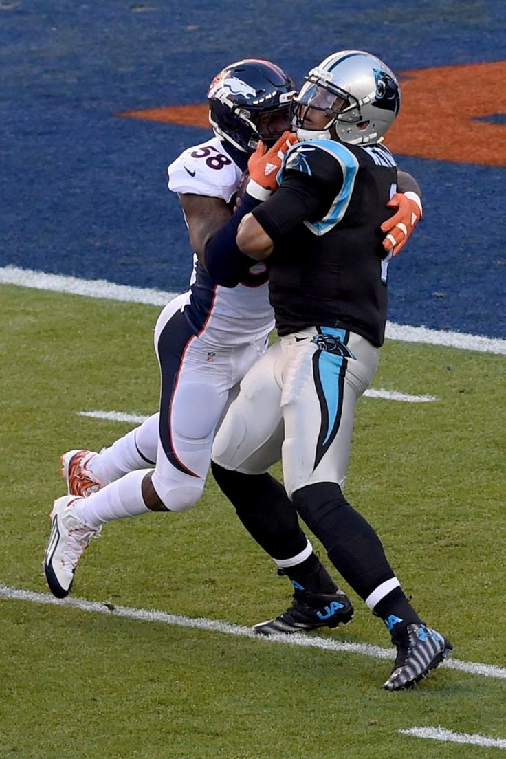 Von Miller slams Cam Newton for the sack, which results in a fumble...