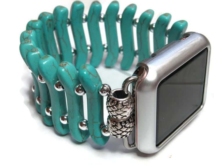 Flat Turquoise Apple Watch Band - Designer Apple Band - BeadsnTime - Turquoise and Silver Womans Apple Band - 38 mm or 42 mm Apple Band by BeadsnTime on Etsy https://www.etsy.com/listing/524590050/flat-turquoise-apple-watch-band-designer