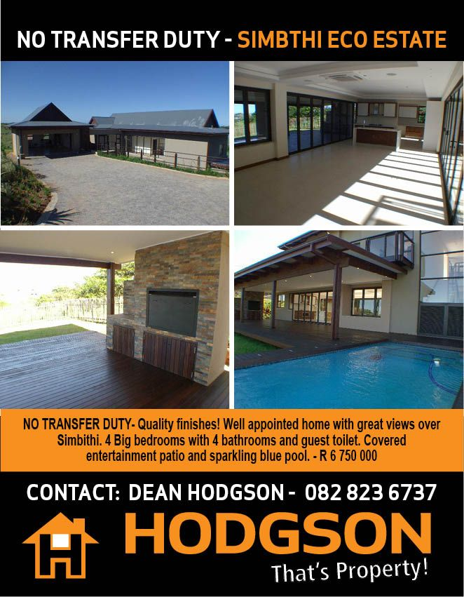 Buy Ballito Property- Quality finishes! Well appointed home with great views over Simbithi. 4 Big bedrooms with 4 bathrooms and guest toilet. Covered  entertainment patio and sparkling blue pool. - R 6 750 000