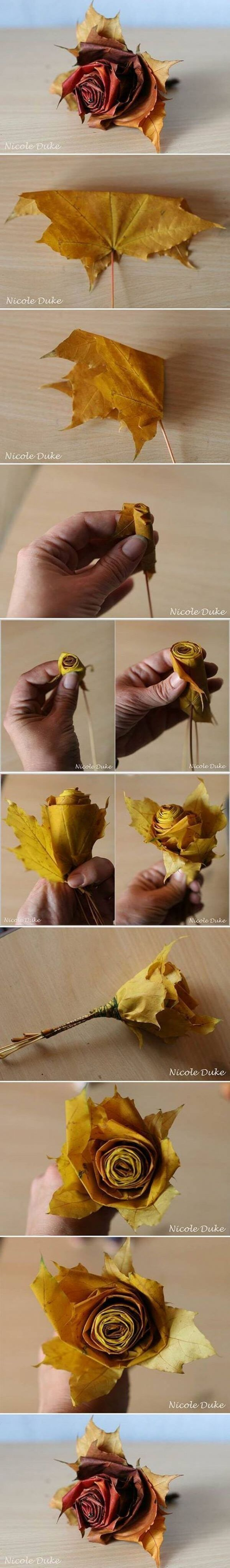 Rolled Paper Rose Update with Fall Foliage