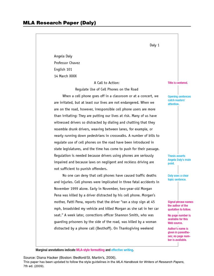 MLA Format Sample Paper, with Cover Page and Outline