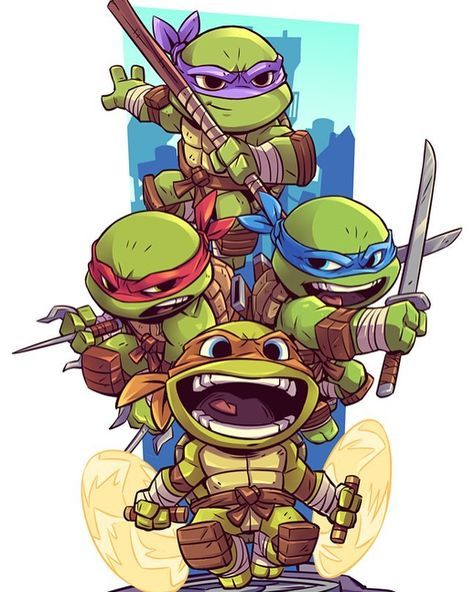 A lot of people have requested that this be made into a print. So I did just that! Available now at www.dereklaufman.com (link in my profile) #tmnt #teenagemutantninjaturtles #heroesinahalfshell #turtlepower #raphael #michaelangelo #leonardo #donatello #chibi #fanart #dereklaufman