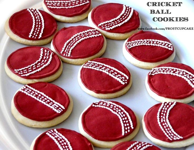Cricket Ball Cookies - www.facebook.com/frostcupcake