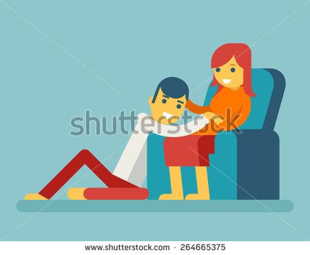 Happy Family Husband and Pregnant Wife Sitting on Couch Hugging Child in Stomach Icon Symbol Flat Design Vector Illustration