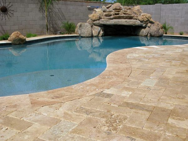 Walnut Travertine #Flagstone is a perfect option to put next to the #pool in your #backyard. Share with all your friends who would want this flagstone on their pool deck. | Frederick, MD | Irwin Stone