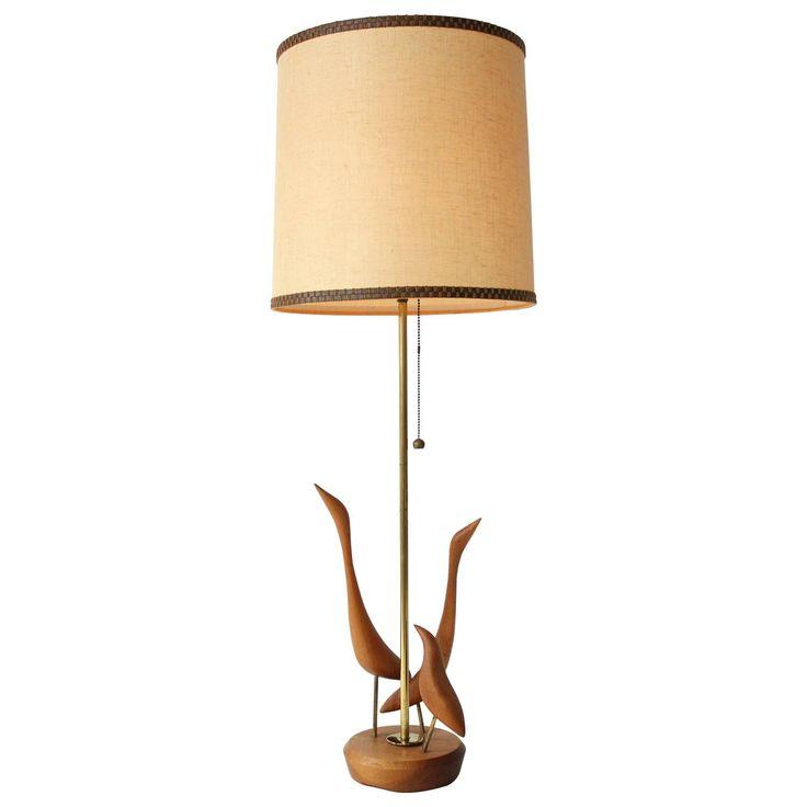 Teak Table Lamp with Brass Trim , 1960s , Denmark