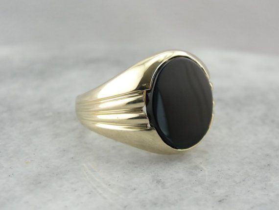 14KT Yellow Gold Oval Cut Engagement Valentine gift Black Onyx Men Ring #uniquegemstone17