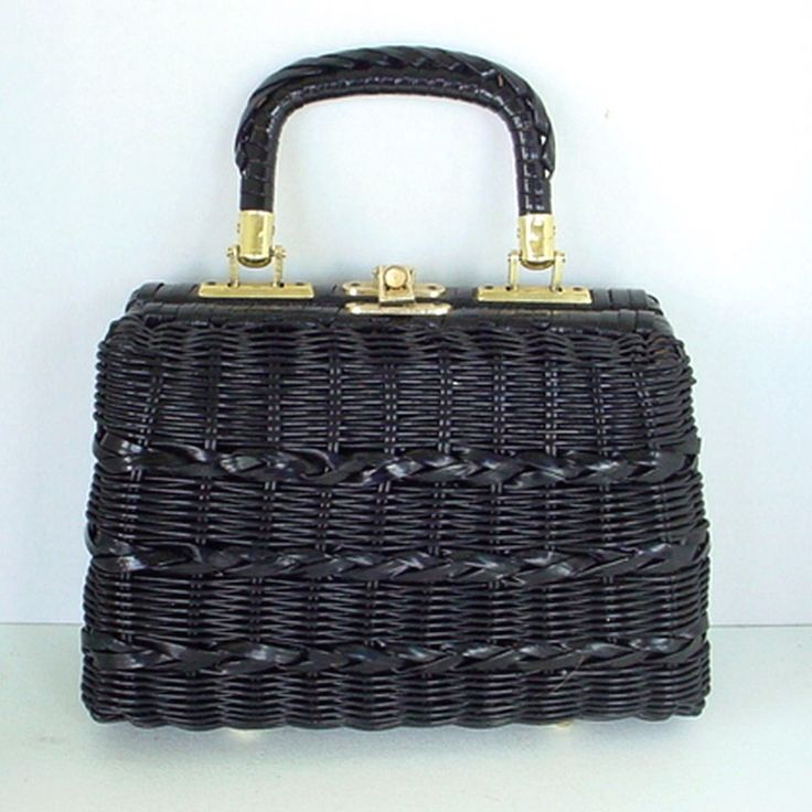 VINTAGE MARCHIONESS 1960s BLACK BASKET PURSE HANDBAG BRITISH HONG KONG RH MACY #MARCHIONESS #BASKET #Everyday