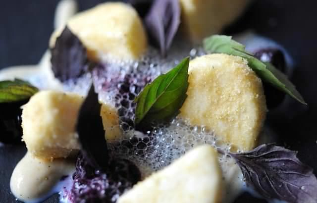 Goat's curd parfait, blueberries and purple basil - Luke Holder - See more at: http://www.greatbritishchefs.com