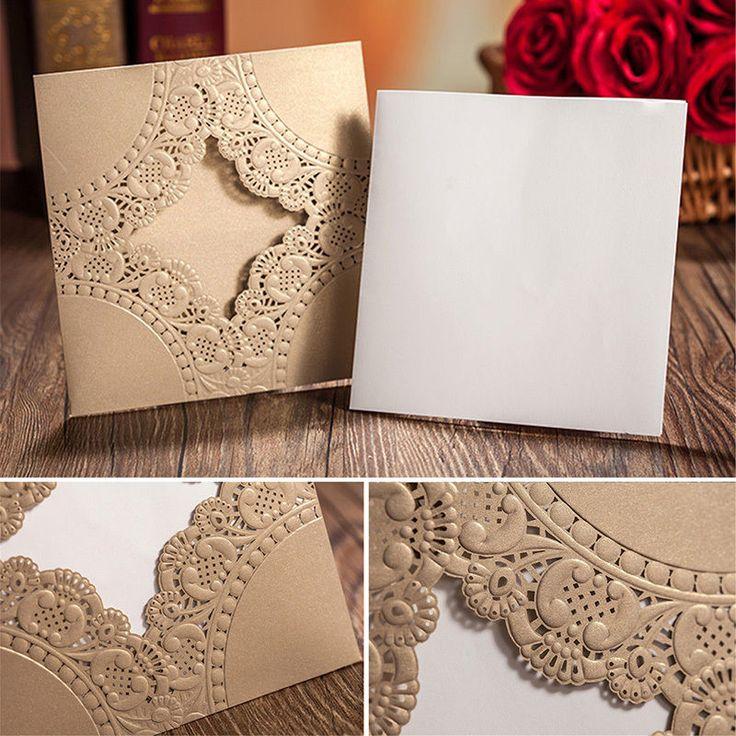 Personalised Sample Handmade DIY Laser Cut Lace Wedding Invitation Envelope H15 in Home, Furniture & DIY, Wedding Supplies, Cards & Invitations | eBay