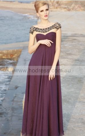Cap Sleeves None Scoop Floor-length Chiffon Evening Dresses dt00232--Hodress