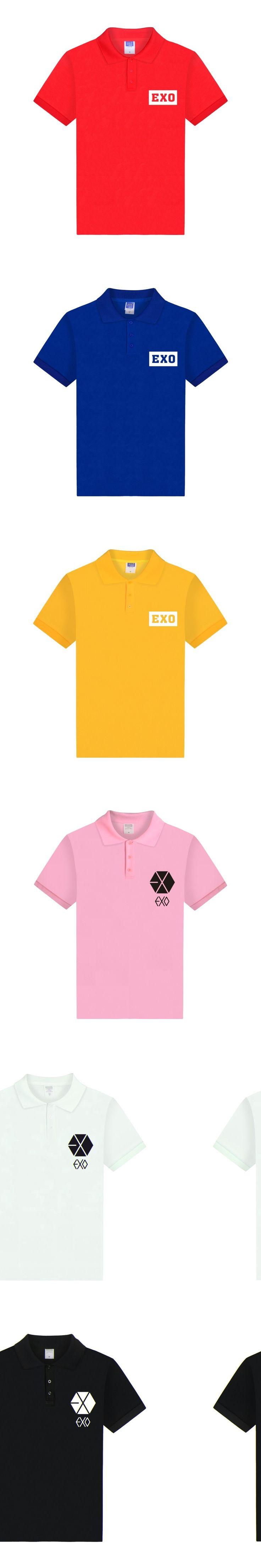 ALIZAZA 2017 Summer Kpop EXO Polo Shirt Men Short Sleeve Mens Polo Shirt Brands Short Sleeve Cotton Camisa Masculina