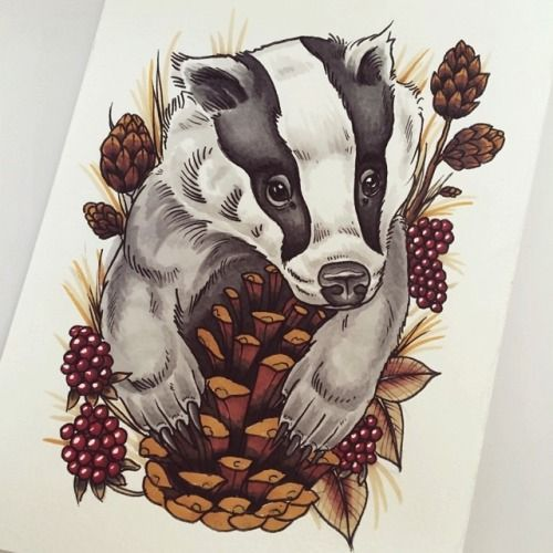 Traditional badger tatto