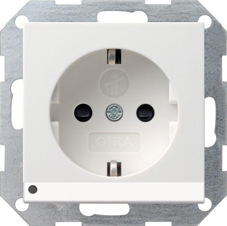 Gira 117003 SCHUKO-Steckdose 16 A 250 V  mit LED-Orientierungsleuchte, mit Kinde Reinweiß glänzend