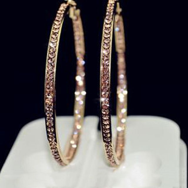2016 TOP popular earrings With rhinestone circle earrings Simple earrings big circle gold plated hoop earrings for women E005
