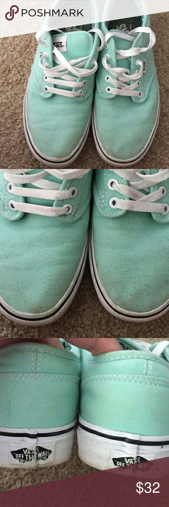 Mint Green Van's Size 8.5 These are in good used condition! I purchased them from this website a long time ago and have yet to wear them since. I am just hoping to sell at this point and am open to offers. Vans Shoes