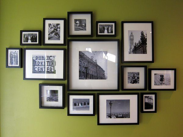 Gallery wall idea--the link has the measurements for the frames
