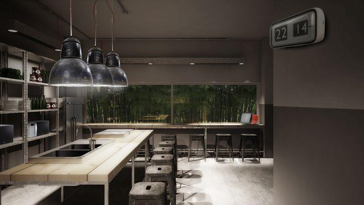 infinite area project by zanon architetti associati #workingspace #rendering #tolix #kitchen #stool #industrial