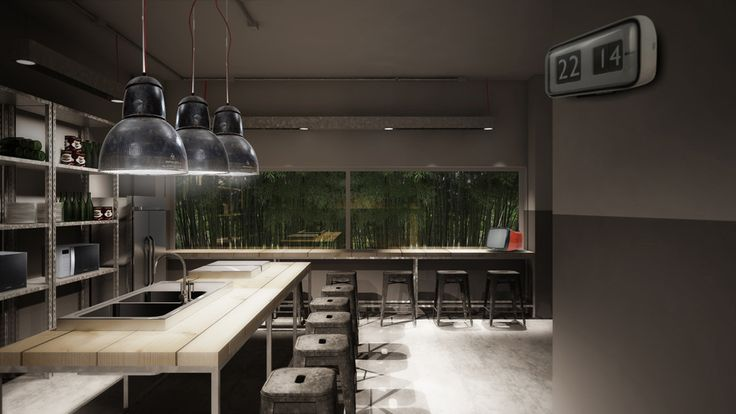 infinite area project by zanon architetti associati #workingspace #rendering #tolix #kitchen #stool #industrial
