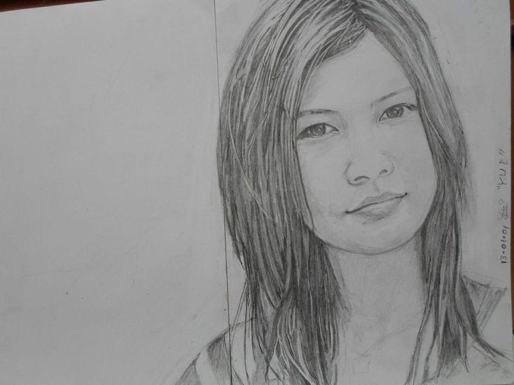 """""""Y U I""""  pencil on  A4 paper she is my idol, I love her voice, .."""