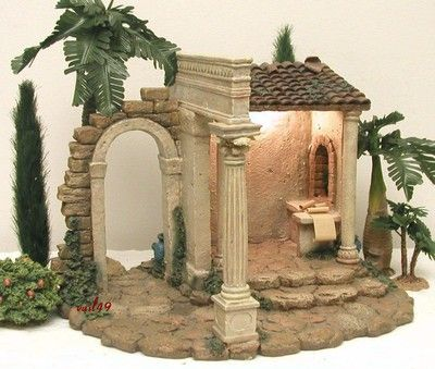 "FONTANINI ITALY 5"" RETIRED 1999 CENSUS BUILDING NATIVITY VILLAGE #50218 w/BOX"