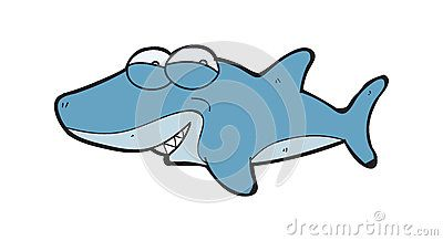 Cartoon about adorable smiling sharks