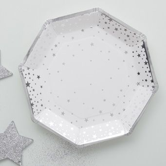 These gorgeous silver foiled Star Paper Plates are perfect for any party or celebration!