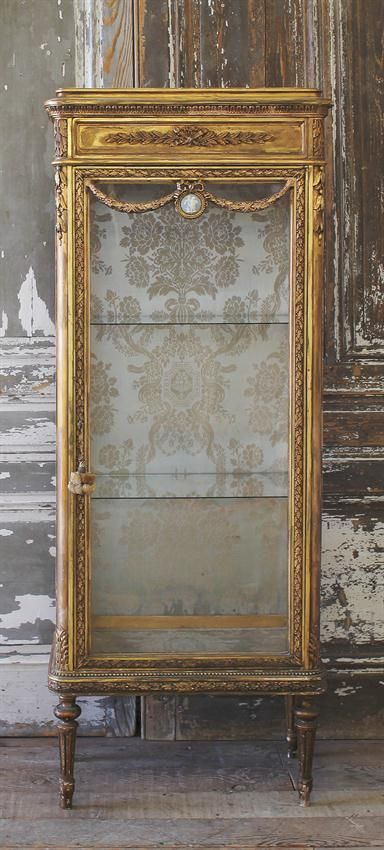 Antique Gilt Vitrine Cabinet in the Louis XVI Style from Full Bloom Cottage: