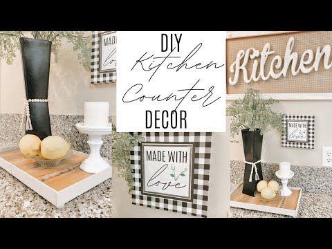 Diy Dollar Tree And Amazon Kitchen Counter Decor Youtube In 2020 Kitchen Counter Decor Counter Decor Dollar Tree Diy