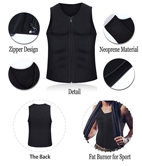 a8093b5763 Amazon.com   Men Waist Trainer Vest for Weightloss Hot Neoprene Corset Body  Shaper Zipper Sauna Tank Top Workout Shirt by Wonderience   Sports    Outdoors