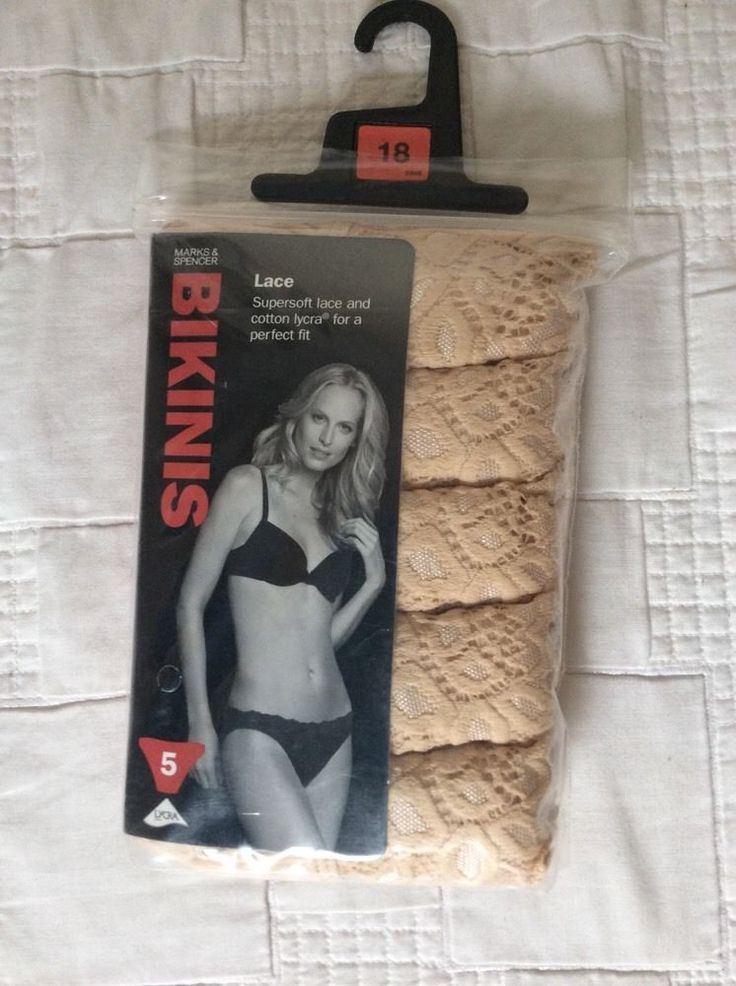 M&S 5 BIKINIS pack Lace Supersoft lace&Cotton LYCRA perfect fit UK18 BNIP RRP£12