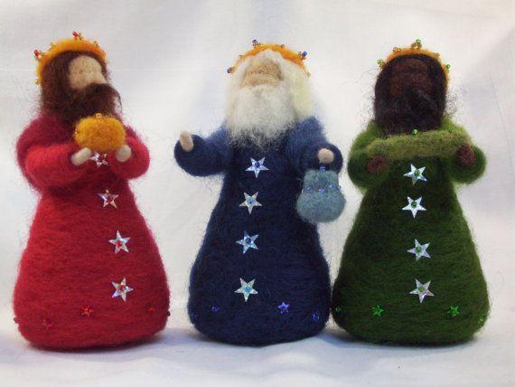 OOAK Three Kings needle felted wise meheilegers n epiphany door CareyBrett