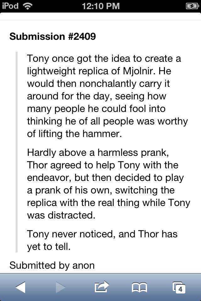 Aww, I love this. Tony is worthy after all.  Avengers Headcannon.