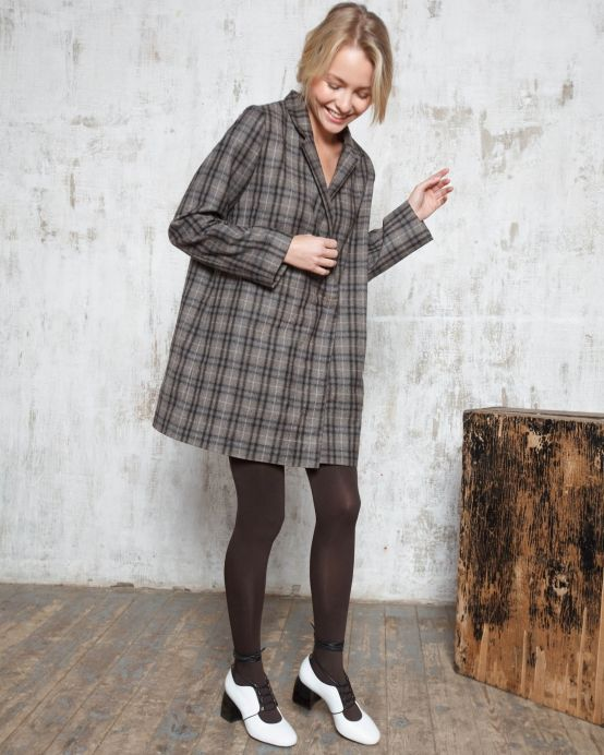 Платье-пиджак в клетку (серо-коричневое)