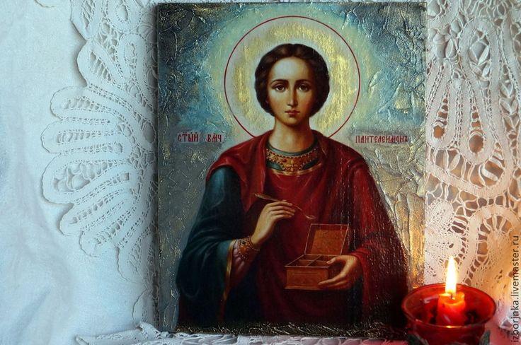 Купить Икона Пантелеймона целителя - икона, Декупаж, фреска, икона в подарок, Икона на заказ, иконы